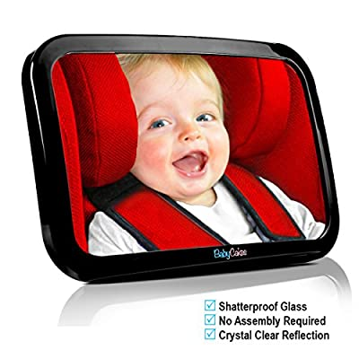 Baby Car Mirror - Back Seat Rear View - Fully Adjustable to Fit Any Headrest - 360 Tilt & Turn Function - Wide Convex Shatterproof Glass and Fully Assembled - Crash Tested and Certified for Safety by BabyCakes - inexpensive UK light store.