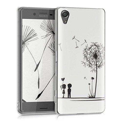 kwmobile Hülle für Sony Xperia X - TPU Silikon Backcover Case Handy Schutzhülle - Cover klar Pusteblume Love Design Schwarz Weiß (Silikon Zuneigung)