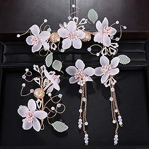 FengJingYuan-ZHUBAO Braut Sen Abteilung Xianmeitou Blume handgemachte Perle Haarband Ohrringe Set Hochzeit Headwear