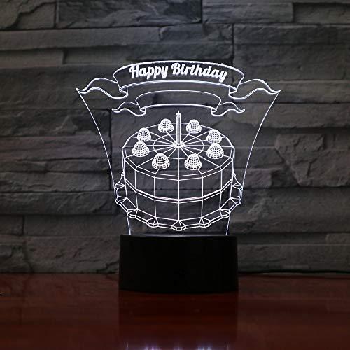Vision alles Gute zum Geburtstag 3d, die Nachtlicht-Noten-Usb-Tabellen-Illusions-Gefühle führt, die Licht-Atmosphäre 7 Farben verdunkeln, die Geschenke erstaunen