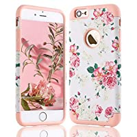 LLZ.COQUE For iPhone 6 iPhone 6S Cute Case, Chic Combo Hybrid Hard PC Flexible Silicon Bumper Case Vintage Pastel Floral Girls Lovely Shell Dual Layer Shockproof Protective Cover White