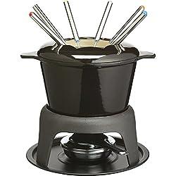 Kitchen Craft MasterClass Gusseisernes Fondue-Geschenkset mit Emaillierung und 6 Gabeln, schwarz