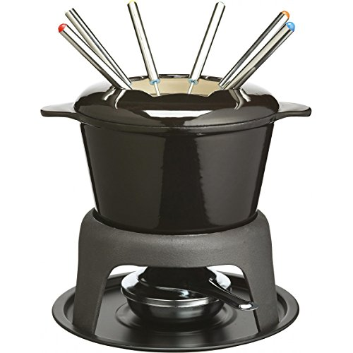 Kitchen Craft MasterClass - Set de Fondue de Hierro esmaltado (con 6 Pinchos), Color Negro
