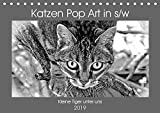 Katzen Pop Art in s/w - Kleine Tiger unter uns (Tischkalender 2019 DIN A5 quer): Unsere Lieblinge einmal in einer