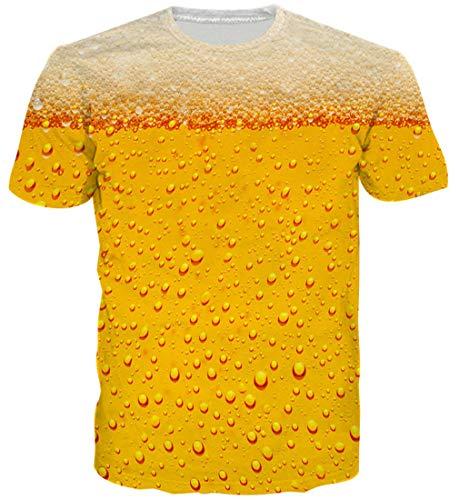 Goodstoworld 3D Bier Gelb Print T Shirt Herren Damen Sommer Lustige Beiläufige Kurzarm Aufdruck T-Shirts Tee Top XL
