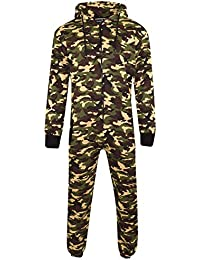 Mens Unisex Onesie Full Camouflage Print Zip Up All in One Hooded Army Camo  Jumpsuit c167a7371