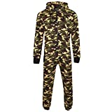 Mens Unisex Onesie Full Camouflage Print Zip Up All In One Hooded Army Camo Jumpsuit