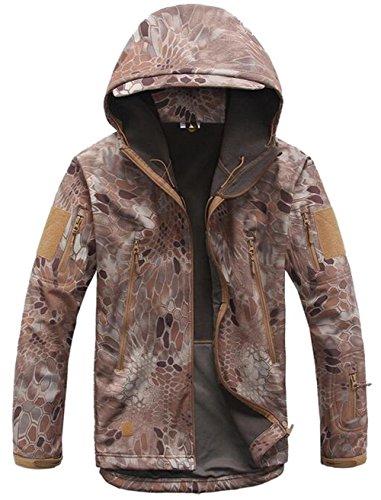 JZWXX Herren Mountain wasserdichte Camouflage jacke Mantel Regenjacke Windjacke Kapuze Tragebeutel Camping Outdoor Jacket MC#DE 01