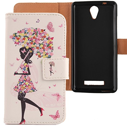 "Lankashi PU Housse Case Cover Cuir Coque Etui Flip Protection Portefeuille Pour Archos 50 platinum 4G 5"" 2016 Umbrella Girl Design"