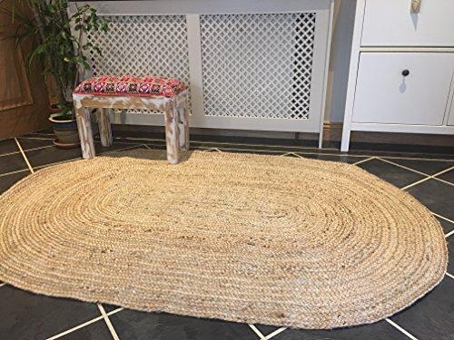Leinen Oval Teppich (Second Nature Große Geflochten Oval Flickenteppich Jute & Baumwolle Multi Farbig 120cm x 180cm)