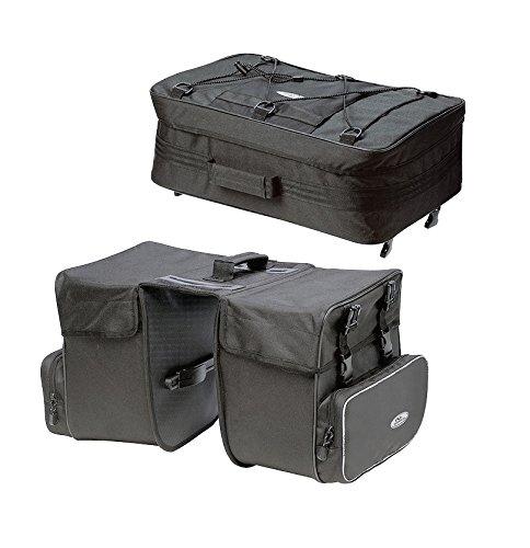 Norco Orlando Dreifachtasche - Doppelpacktasche mit Top Case schwarz - schwarz