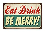 "Sketchfab ""Eat Drink Be Merry"" Wall Sign (Wooden, 30 cm x 20 cm)"