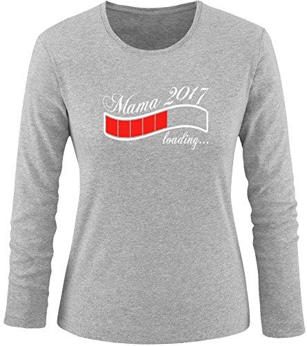 EZYshirt® Mama 2017 Damen Longsleeve Grau/Weiss/Rot