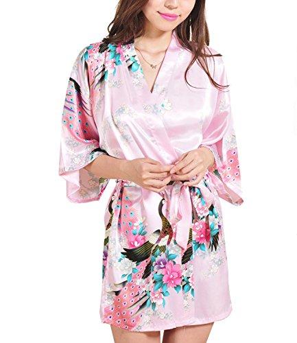 Frauen Kurze Kimono Roben Brautjungfer Pfau und Blüten Fleck Silk Nachtwäsche Rosa (Silk Dressing Gown)