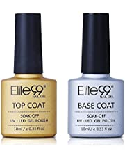 Elite99 Base and No Clean Top Coat Gel Nail Polish UV Transparent Soak Off Primer Gel Lacquer Nail Art Manicure (Net 20ml)