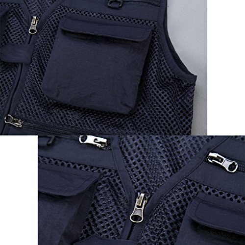 Zhuhaitf Gilet de pêche Mens Fashion Multi-pockets Photography Working Sports Vest Jacket Outerwear Kaki