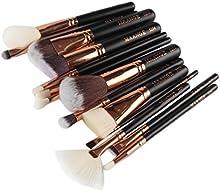 Tongshi 15 PC del maquillaje cosmético del cepillo colorete sombra de ojos cepillo del sistema (negro)