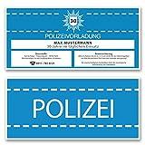 (10 x) Einladungskarten Geburtstag als Polizei Vorladung Karte Einladungen in Blau