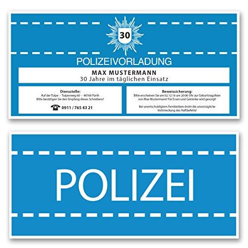 (30 x) Einladungskarten Geburtstag als Polizei Vorladung Karte Einladungen in Blau