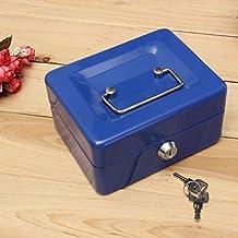Mohoo Geldkassette Sicherheit Tresor Edelstahl tragbare Kassette kleine Kasse mit Schloss und 2 Schlüssel Blau 5 x 11.5 x 7.5cm