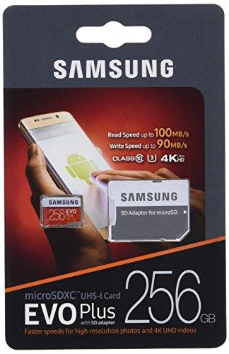 Samsung Micro SDXC 256GB Class 10 EVO Plus U3 Speicherkarte (inkl. SD Adapter, bis zu 100MB/s)