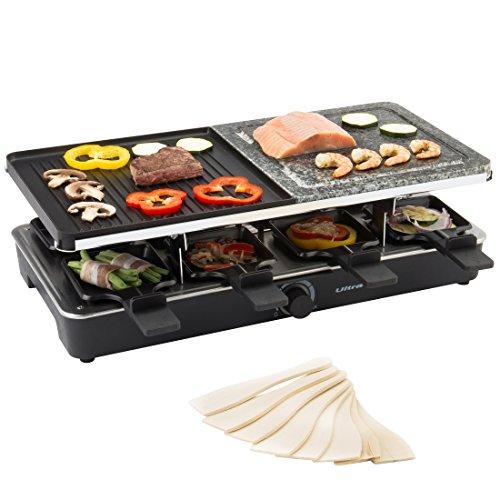 Ultratec grill per raclette adatto fino a 8 persone con due piastre, 1400 w