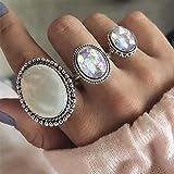 SGerste - Juego de 3 anillos de plata con piedra de gran calibre para mujer, ovalados, bohemio