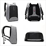 15.6 inch Laptop Backpack with USB Charging Port, UBaymax Men Waterproof Anti Theft Canvas Daypack for College Business Travel Outdoor Activities (Grey)