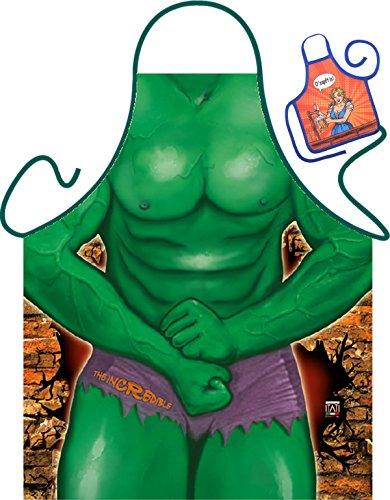 Hulk Motiv Kochschürze sexy nackter Männerkörper Hulk Kostüm Schürze : The Incredible -- Themenschürze mit Minischürze für Flaschen (Sexy Incredibles Kostüm)
