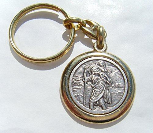 St Christophe-Rond - 30 mm-Diamètre du porte-clés en métal dans une boîte cadeau