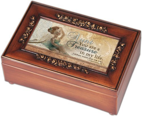 Cottage Garden Aunt Woodgrain Petite Rose Music Box / Jewelry Box Plays Amazing Grace (Rose Music Box)