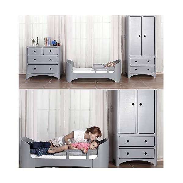 VBARV 4 in 1 Convertible Crib-Solid Wood Crib Stylish Bent Wood Baby Growth Bed Teenager Furniture, Baby Can Sleep From Birth to 10 Years VBARV 4 in 1 Convenience: Designed to save you the hassle of buying multiple beds as children grow up (and extra money!). Easily convert to toddler beds, sofa beds and full-size beds. Grow with your baby: 4 adjustable mattress positions that you can lower as your baby starts sitting and standing. We built this crib to withstand even the most active babies and toddlers and continue into your child's teen years. For your baby's safety: say goodbye to toxic chemicals! Complete with non-toxic multi-step spraying process, lead and phthalate are safe. Please be assured that it has exceeded the safety standards of ASTM International and the US CPSC. 4