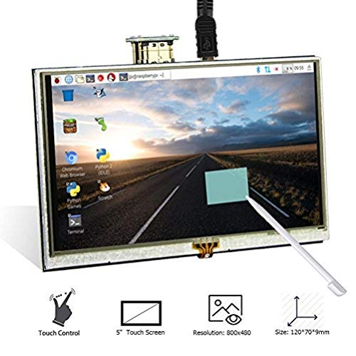 Elecrow 5 Inch Touch Screen TFT HDMI Monitor LCD Dsiplay with Touch Pen 800x480 Resolution Mini Display for Raspberry Pi 3B+, 3B, 2B, B+, BB Black, Banana Pi Windows 10 8 7 -