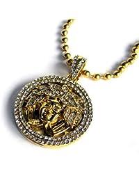Sintético Diamante Micro Chapado en Oro Medusa en Completamente Helado Colgante Círculo & Cadena Esferas