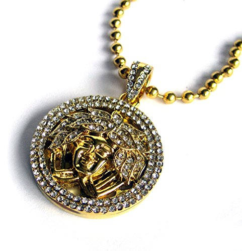 faux-diamond-micro-gold-plated-medusa-in-fully-iced-circle-pendant-ball-chain