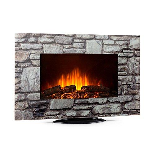 Klarstein colmar • camino elettrico • termoventilatore • vetro • fino a 2000w • retroilluminazione led con 7 colori • effetto fiamma • effetto pietra • telecomando • grigio