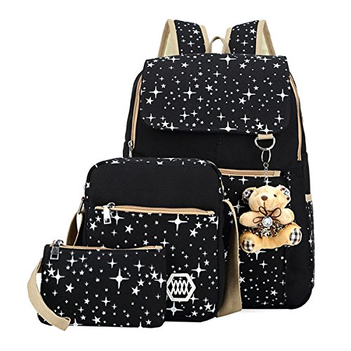 UNIQUEBELLA Backpack School Bags Canvas Rucksack Set Casual Daypack + Shoulder Bag + Pencil Case, Stars A-Black