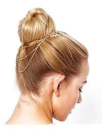 Boda para peinarla cadenas peine pelo peine de pelo joyería de la cadena de oro (HK010)