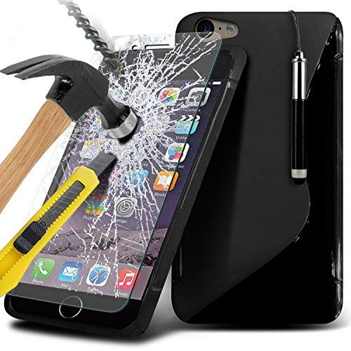 Aventus ( Orange ) Apple iPhone 6S Case Protective Elegant Dura prova Survivor duro Rugged Shock Heavy Duty Case W / basamento della parte posteriore, vetro Temperato schermo LCD proteggi, Panno e Min Wave Gel+ Tempered ( Black )