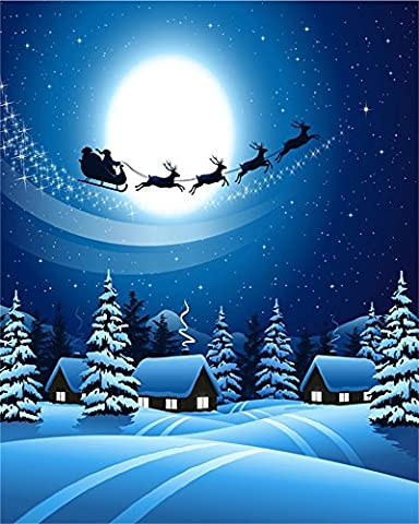 Aaloolaa 2,5x3m Fotografie Backdrop Vinyl Foto Hintergrund Dreamlike Santa with Sleigh and Reindeer Christmas Snow Night Trees Cabins Kid Children Xmas Scene Props Video Shooting Studio