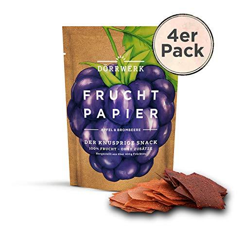 Getrocknete Früchte 4er Set I 4 x 40 g I Fruchtpapier Apfel - Brombeere I Frucht Snack I Trockenobst als Superfood für Büro und Frühstück