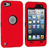 Red Deluxe Hybrid Premium Rugged Hard Soft Case Skin Cover for Apple iPod Touch 5th Generation 5G 5