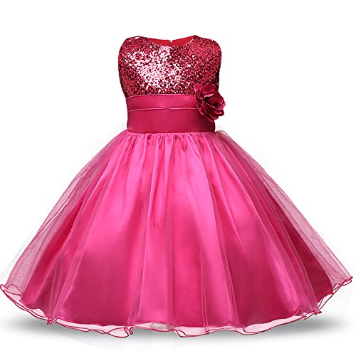 Pailletten Prinzessin Tutu Tüll Baby Party Kleid Größe(80) 10-18 Monate Rose ()