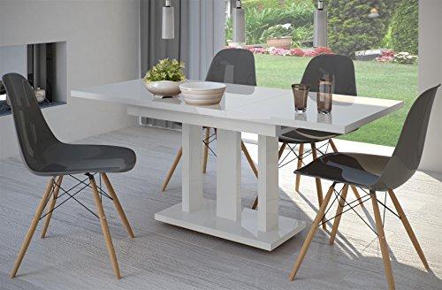 Endo Esstisch Appia 130/180x80cm Ausziehbar Erweiterbar Küchentisch  Säulentisch 130cm // Weiss Matt