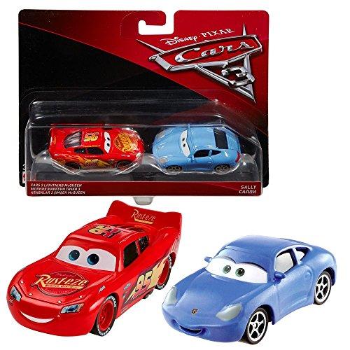Disney Matchbox Cars (Disney Cars 3 Cast 1:55 - Auto Fahrzeuge Doppelpack zur Auswahl, Typ:Lightning McQueen & Sally)