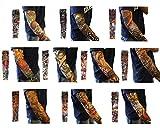 TININNA Manguitos,Juego de 10 Pairs Novedosas Mangas con Apariencia de Tatuaje Real temporales - Diseños Tribal, dragón, Calavera, etc
