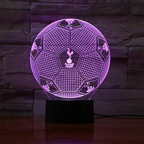 Équipe de football de Premier League Fc Tottenham Hotspur 3D Illusion Led Night Light Boys Enfants Bébé Cadeaux Soccer Table Lampe de Chevet