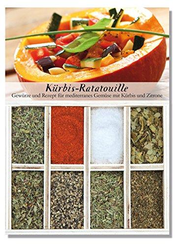 Kürbis-Ratatouille - 8 Gewürze für mediterranes Gemüse mit Kürbis und Zitrone (50g) - in einem schönen Holzkästchen - mit Rezept und Einkaufsliste - Geschenkidee für Feinschmecker - von Feuer & Glas