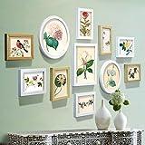 TYF Foto Wand 15Multi Bilderrahmen-Set Kiefer Holz Holz Farbe und weißen europäischen Massivholz für Wohnzimmer, mit Bilder