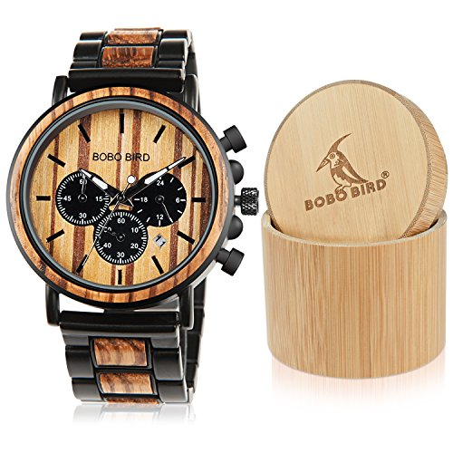 Holz Herren Uhren CLASSIC Luxus Stilvolle Holz-& Edelstahl kombiniert Chronograph Military Quarz Sports Casual Armbanduhren